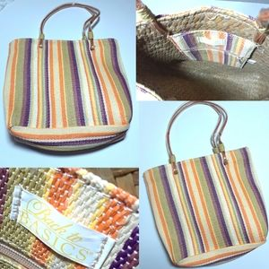Vintage Back To Basics Stripe Straw Small Tote Bag